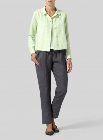 Two Tone Light Green Linen Cropped Shirt Jacket with Pockets