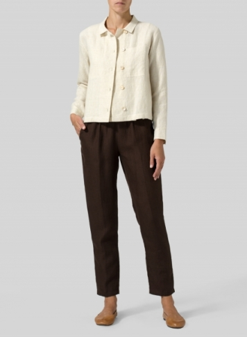 Light Oat Linen Cropped Shirt Jacket with Pockets