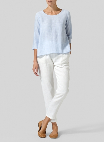 Light Sky Blue Linen A-line High-Low Top