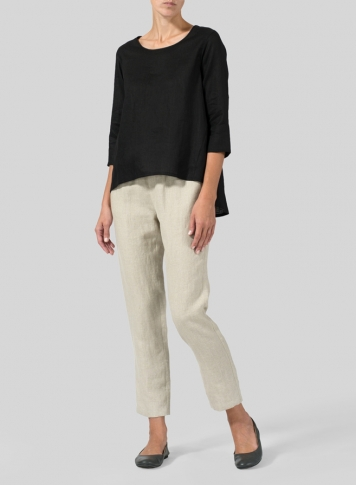 Black Linen A-line High-Low Top