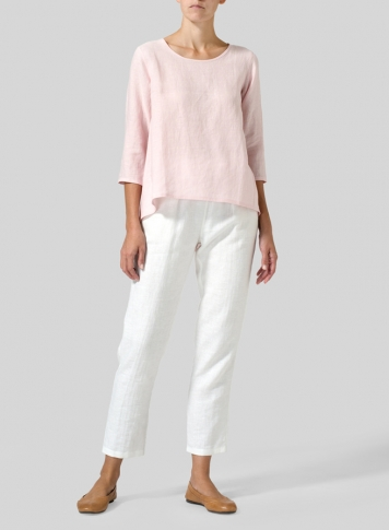 Baby Pink Linen A-line High-Low Top