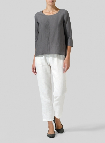Gray Linen A-line High-Low Top