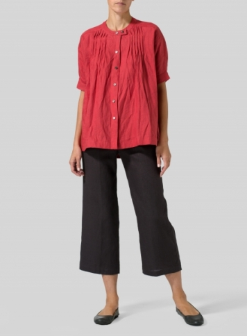 Red Linen Pintucked Short Sleeves Blouse