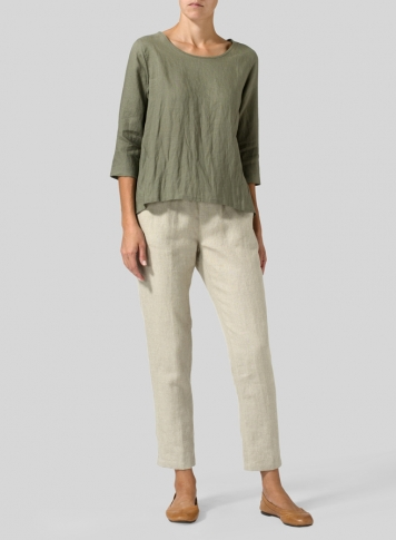 Dark Khaki Linen A-line High-Low Top