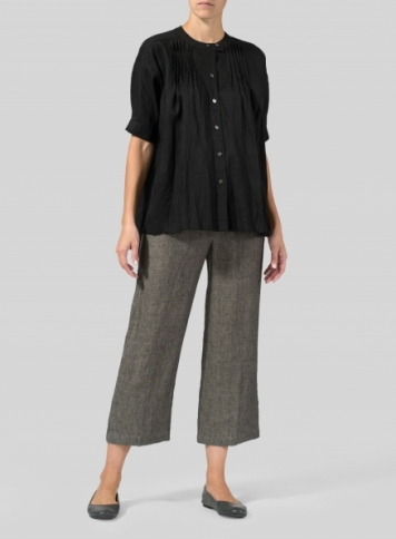 Black Linen Pintucked Short Sleeves Blouse