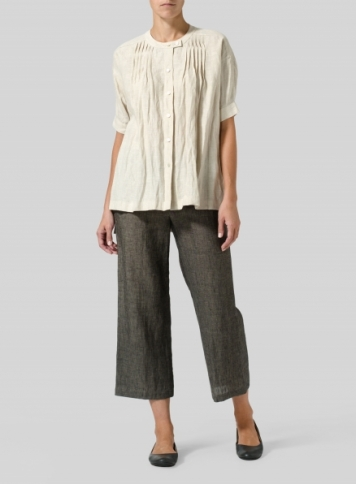 Oat Linen Pintucked Short Sleeves Blouse