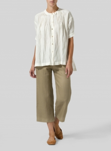 Off White Linen Pintucked Short Sleeves Blouse