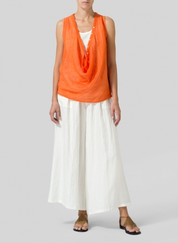 Orange Linen Deep Cowl Neck Top