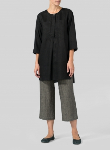 Black Linen Chest Pocket Tunic