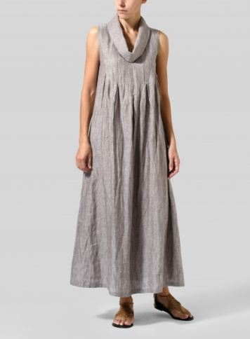 Two Tone Brown Linen Funnel Neck Long Dress