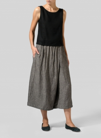 Charcaoal Gray Granite Linen Wide Leg Crop Capri Set