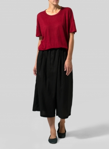 Red Linen Jersey Box Top