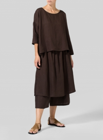 Brown Linen Dropped Shoulder Long Top Set