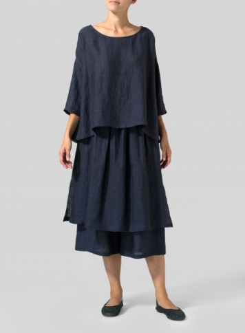 Dark Denim Linen Dropped Shoulder Long Top Set