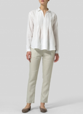 White Linen Front Pleated Shirt