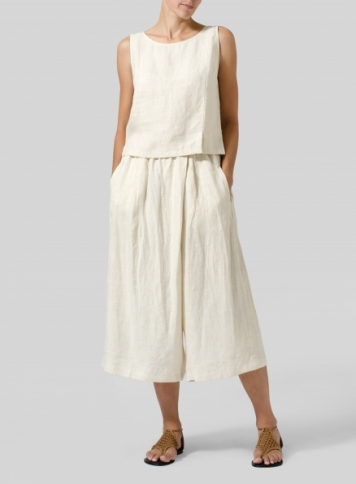 Light Oat Linen Wide Leg Crop Capri Set