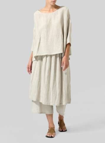 Oat Linen Dropped Shoulder Long Top