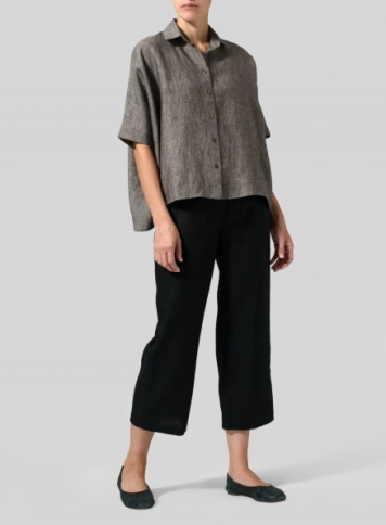 Charcoal Gray Granite Linen Boxy Sleeves Shirt