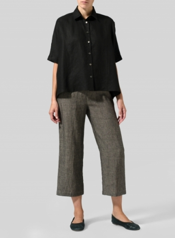 Black Linen Boxy Sleeves Shirt