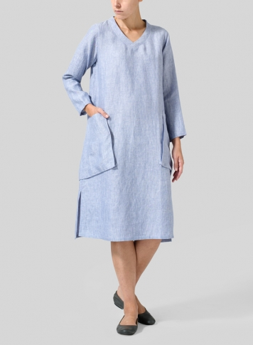Two Tone Blue White Linen Long Sleeve Heart Neck Tunic