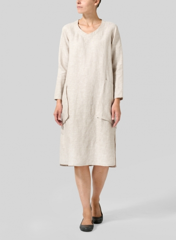 Two Tone Beige Linen Long Sleeve Heart Neck Tunic