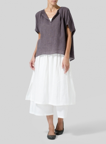 Dim Gray Wrinkled Gauze Linen Collarless Top
