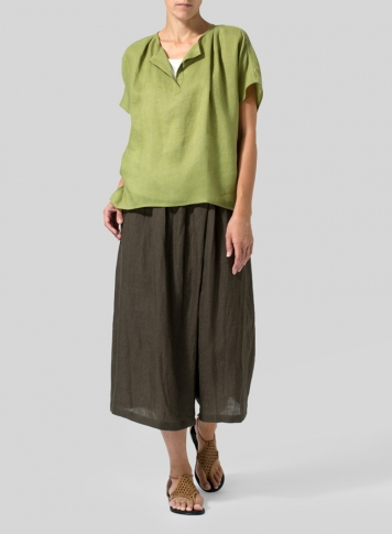 Middle Olive Green Linen Pleated Back Blouse