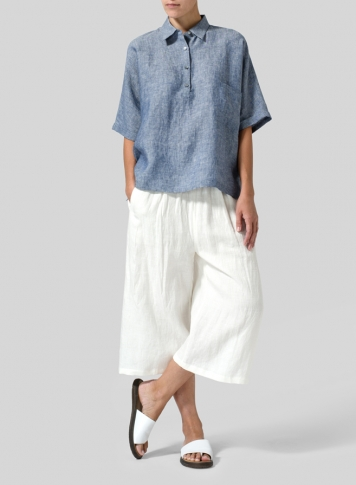 Two Tone Denim Linen Classic Collar Short Sleeves Shirt