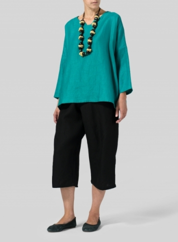 Green Linen Notch Square Neckline Top