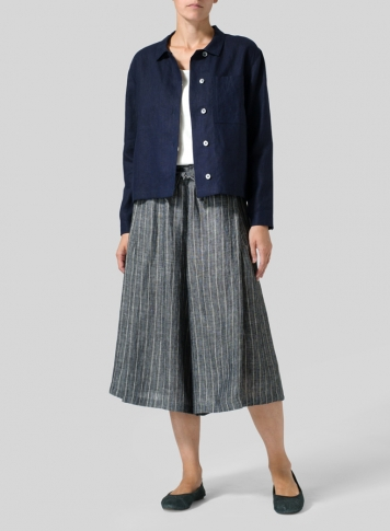 Linen A-Line Wide Leg Pants Set