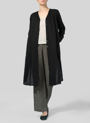 Black Linen V-neck Long Blouse