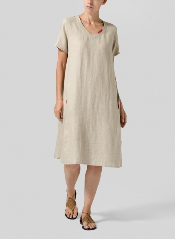 Khaki Gray Heavy Linen Short-Sleeve Heart-Neck Dress