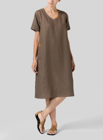 Light Brown Heavy Linen Short-Sleeve Heart-Neck Dress