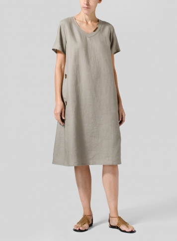 Taupe Brown Heavy Linen Short-Sleeve Heart-Neck Dress
