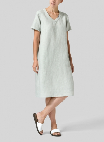 Light Gray Heavy Linen Short-Sleeve Heart-Neck Dress