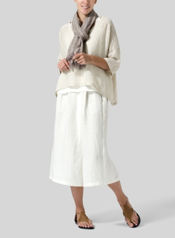 Oat Woven Linen Deep V-neck Top Set