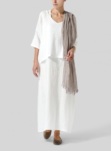 White Woven Linen Deep V-neck Top Set