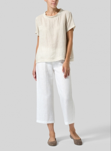 Oat Linen Band Collar Top