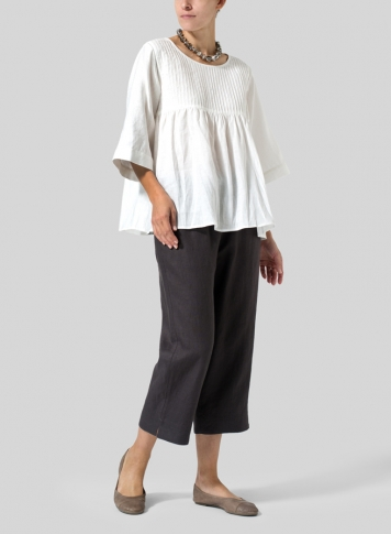 White Linen Hand-Made Pleated Bell Sleeve Blouse