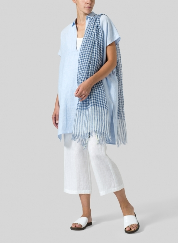 Light Sky Blue Linen Short Sleeve Deep V-Neck Tunic