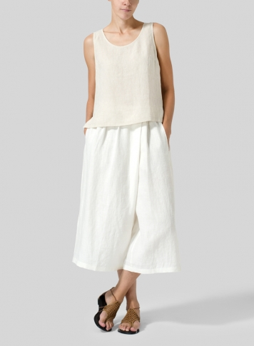 Off White Linen Wide Leg Crop Capri Set