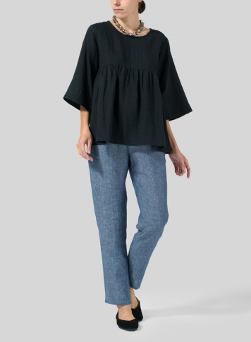 Black Linen Pleated Bell Sleeve Blouse