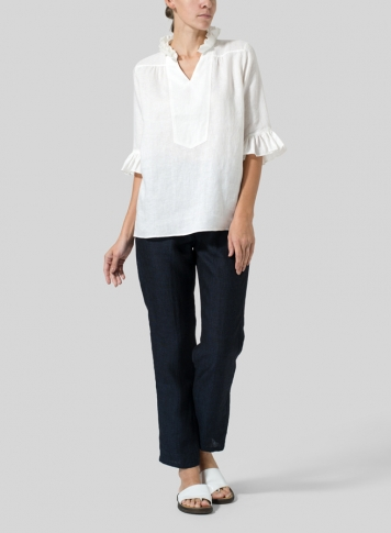White Linen Ruffle Stand Collar Top