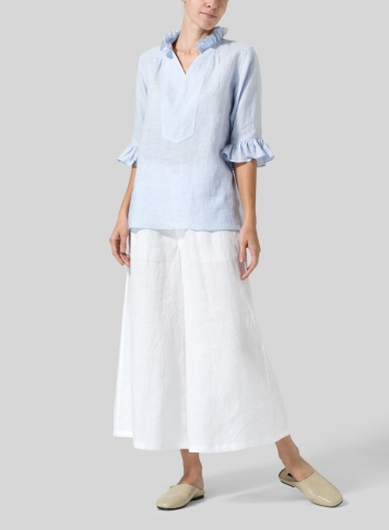 Light Sky Blue Linen Ruffle Stand Collar Top
