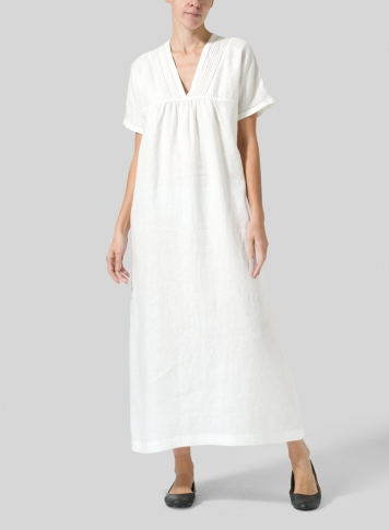 Soft White Linen Deep V-Neck Long Dress