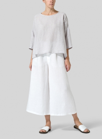 White Linen Relaxed Wide Leg Pants