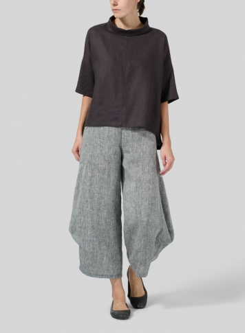 Graphite Linen Band Collar Boxy Top