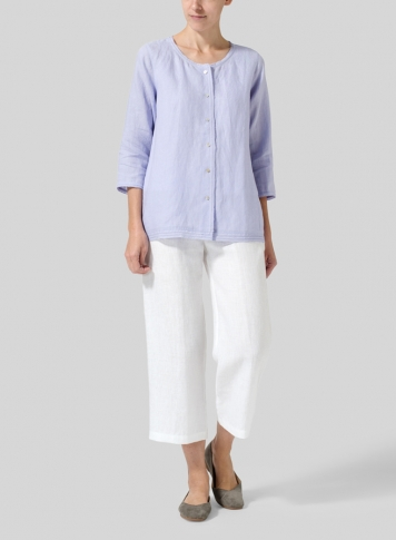 Lavender Lightweight Linen Embroidered Hemline Top