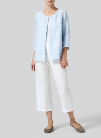 Power Blue Lightweight Linen Embroidered Hemline Top