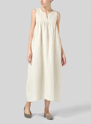 Oat Linen Sleeveless Pleated Maxi Dress